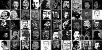 (Visages de Lu Xun, gravure sur bois, par les étudiants en 2ème année de la promotion 2009 de l'Académie des beaux-arts de Chine, image sur http://art.liwai.com/content-14513.htm)